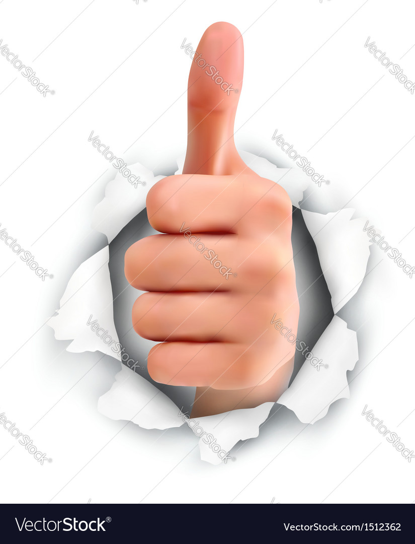Hand with thumb up through a hole in ripped paper vector | Price: 1 Credit (USD $1)