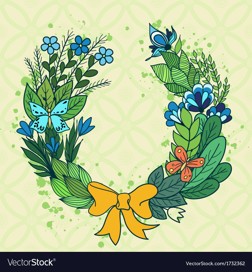 Handdrawn floral wreath with blue flowers vector | Price: 1 Credit (USD $1)