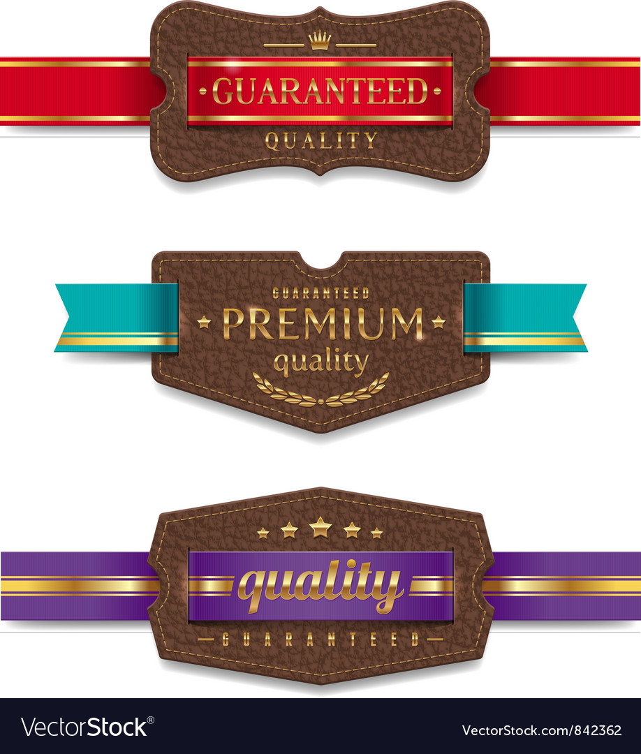 Leather quality labels with ribbon vector | Price: 1 Credit (USD $1)