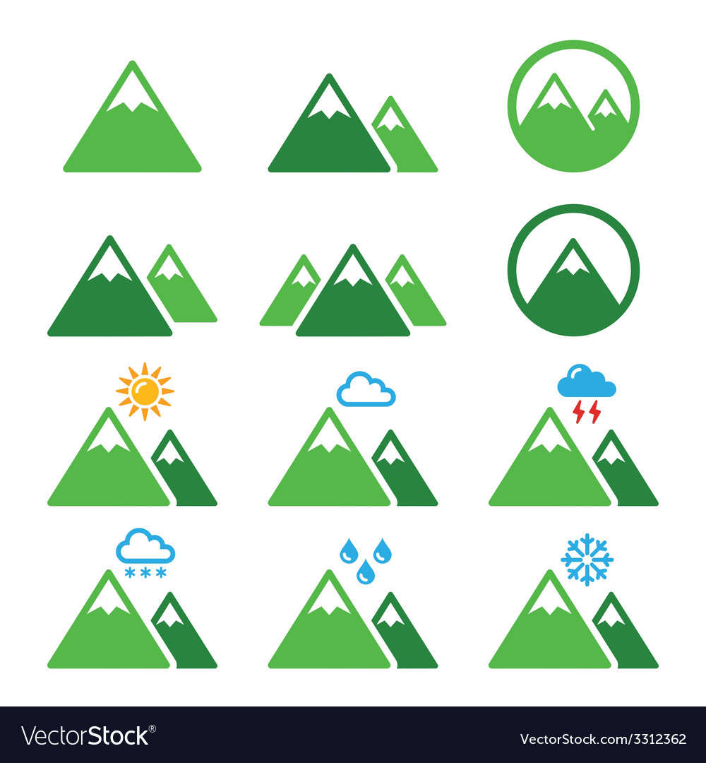 Mountain green icons set vector | Price: 1 Credit (USD $1)