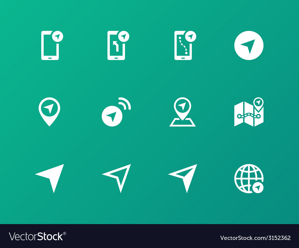 Navigator icons on green background vector | Price: 1 Credit (USD $1)