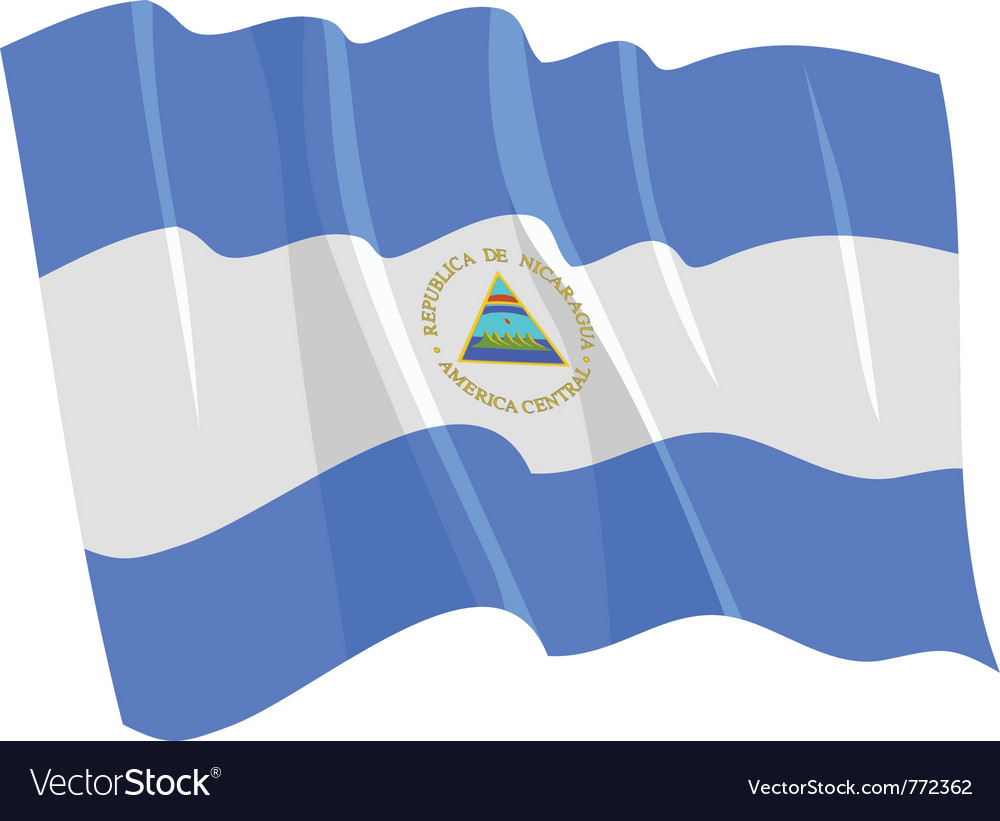 Political waving flag of nicaragua vector | Price: 1 Credit (USD $1)
