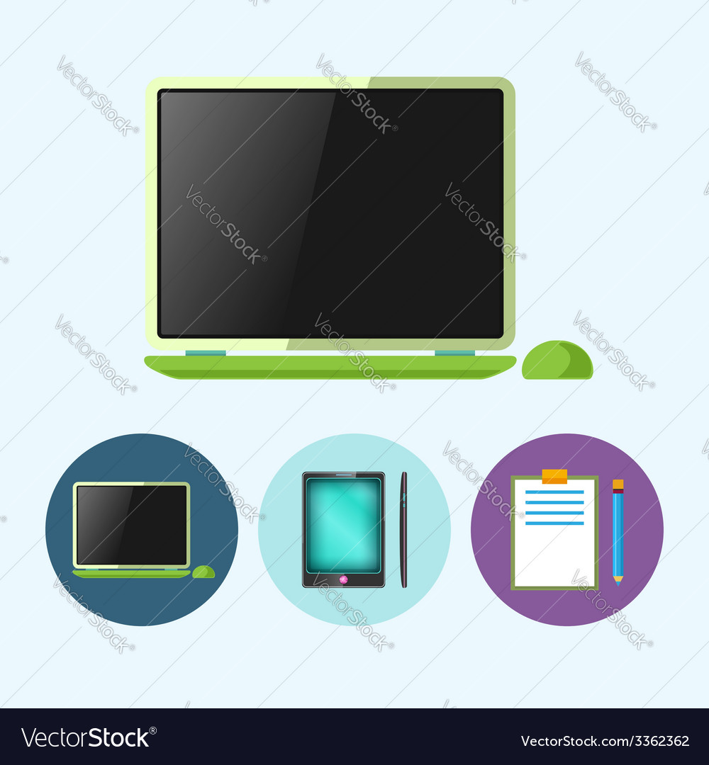 Set icons with laptop phone clipboard vector   Price: 1 Credit (USD $1)