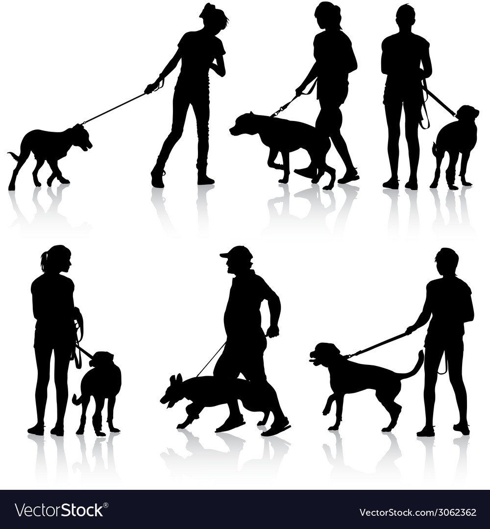 Silhouettes of people and dogs vector | Price: 1 Credit (USD $1)