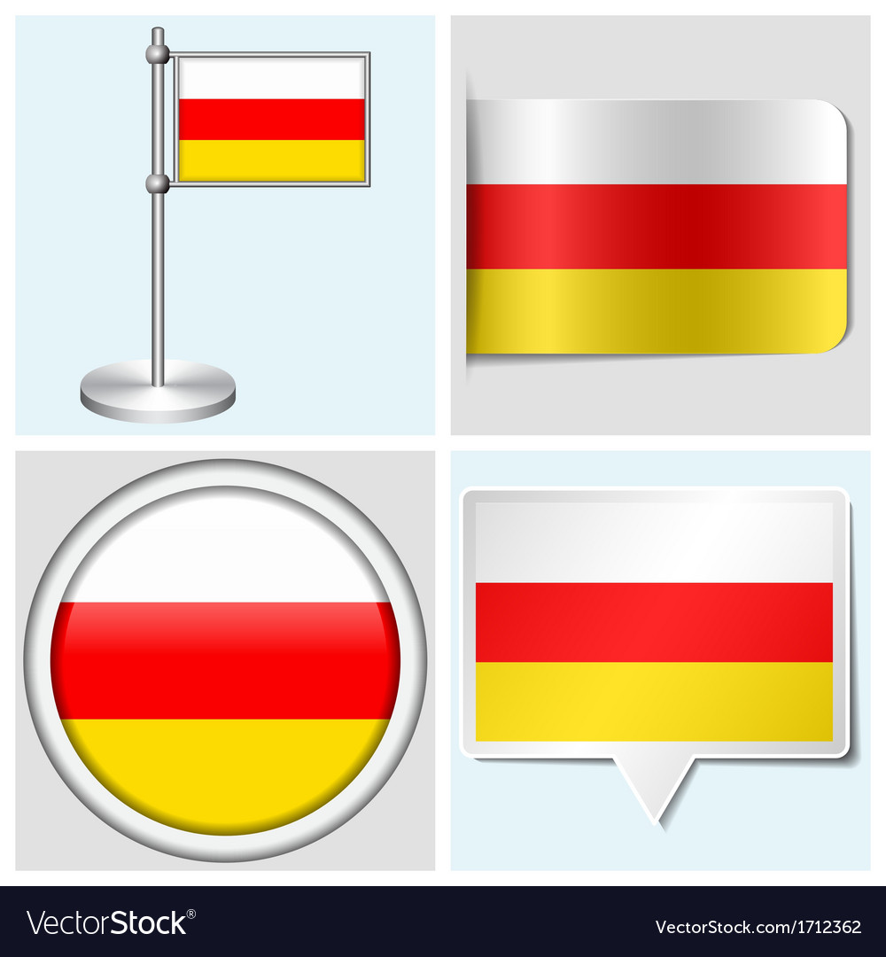 South ossetia flag - sticker button label vector | Price: 1 Credit (USD $1)