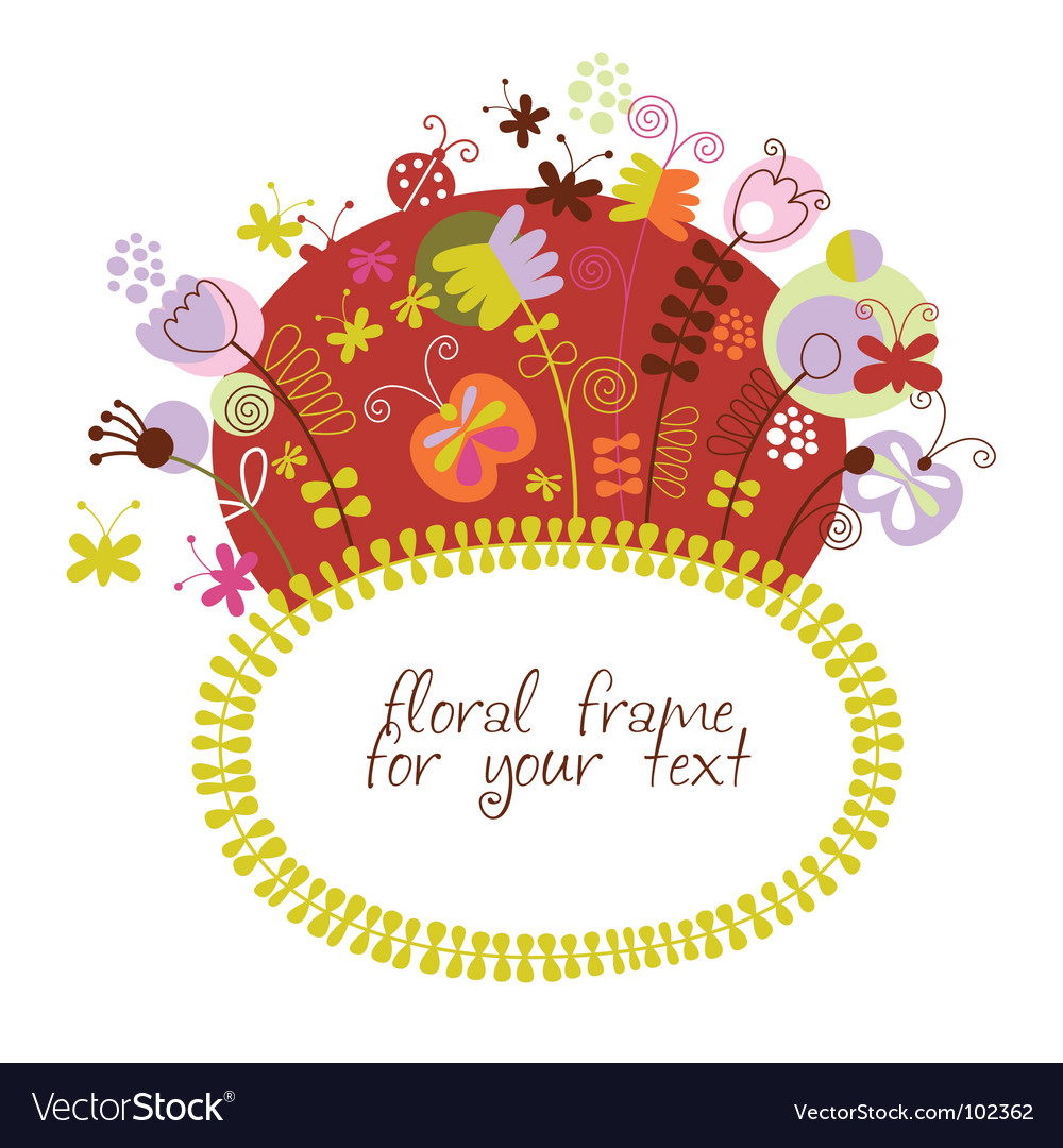 Stylized floral frame greeting card vector | Price: 1 Credit (USD $1)