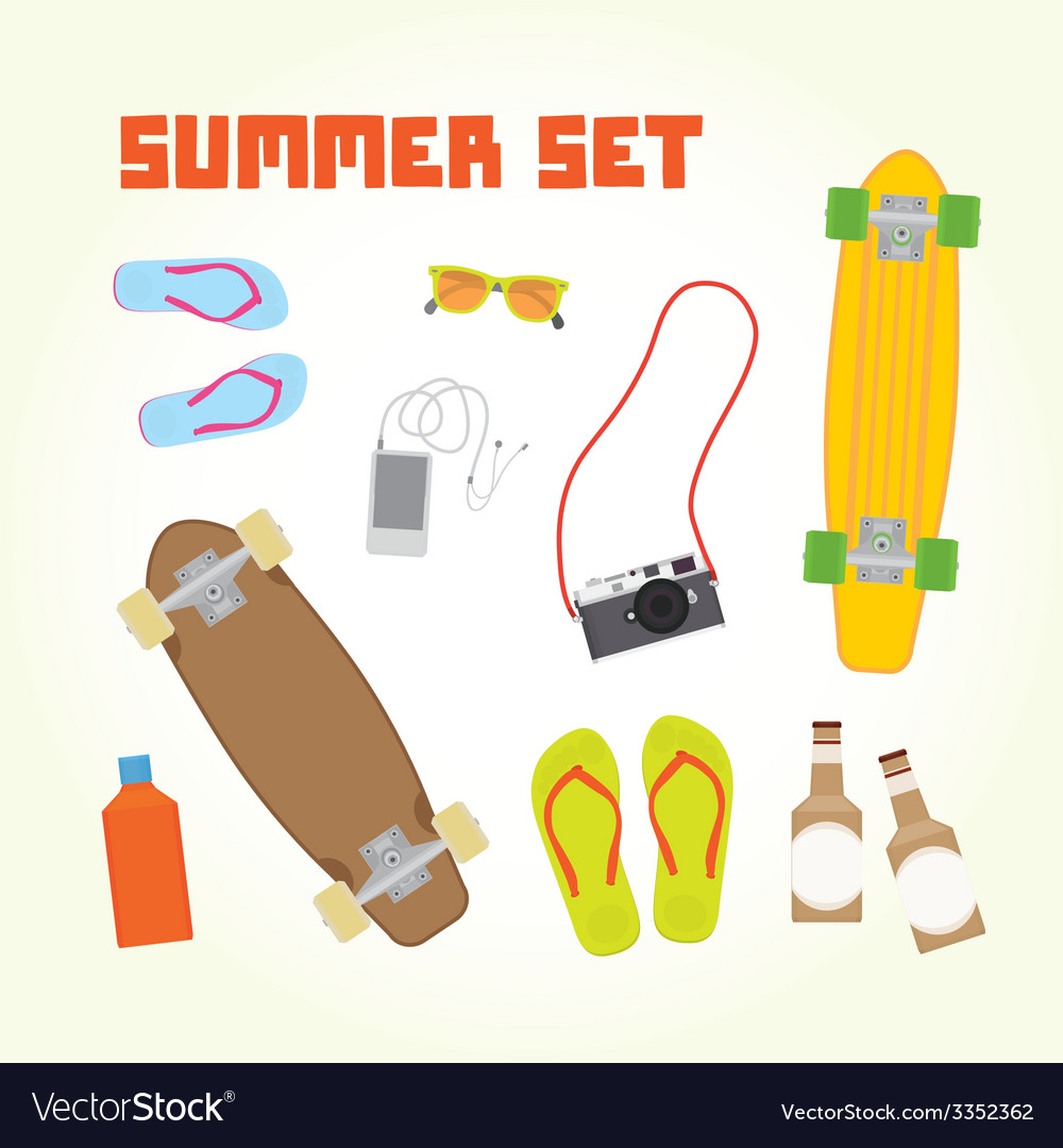 Summer objects set vector | Price: 1 Credit (USD $1)
