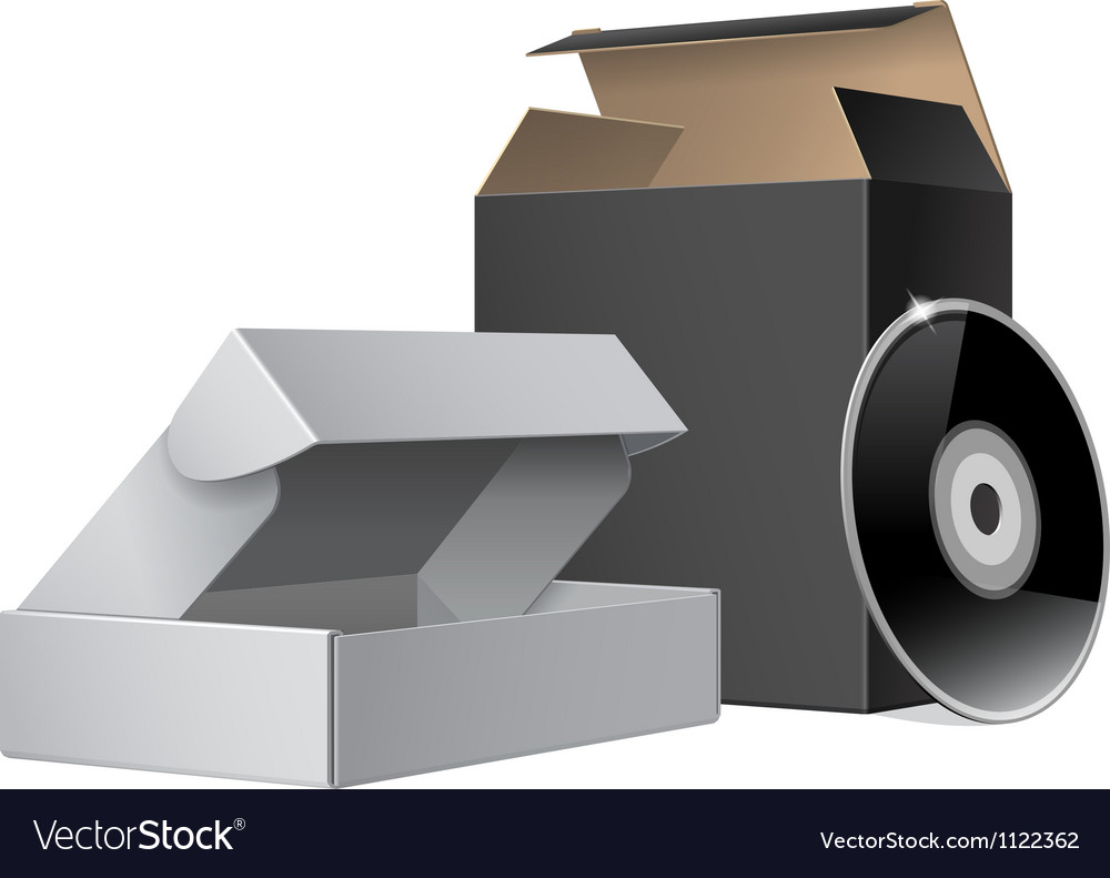 Two package box opened with dvd or cd disk for vector | Price: 1 Credit (USD $1)