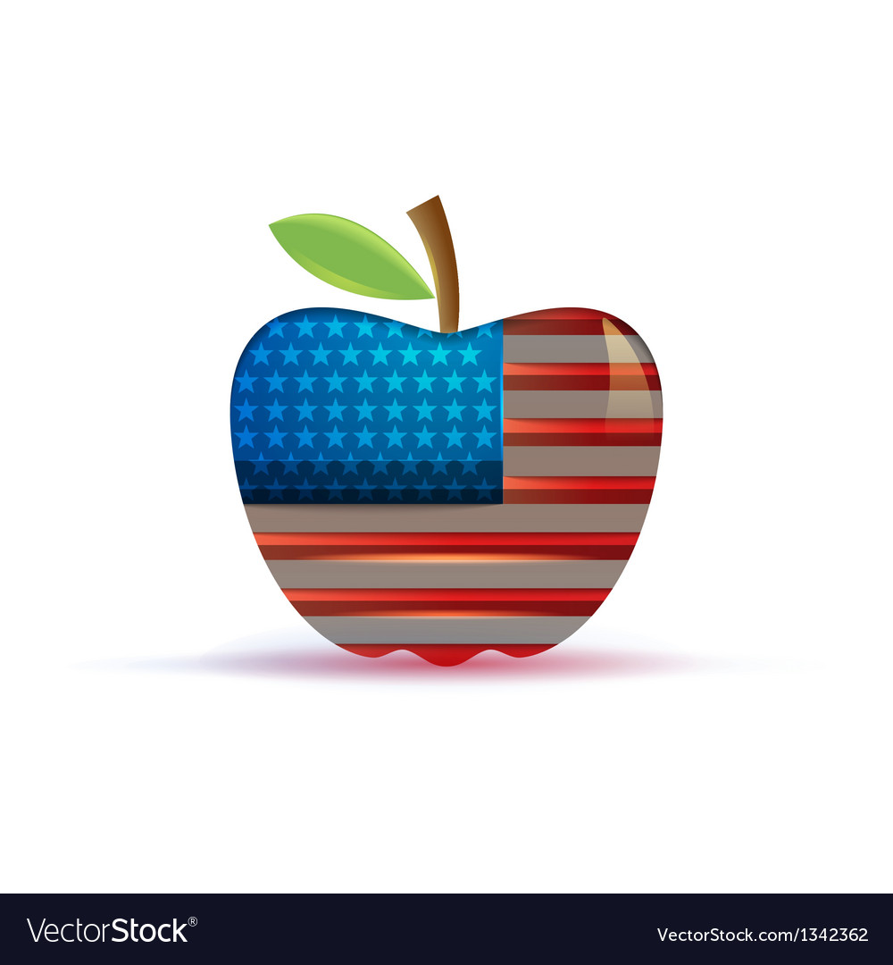 The usa flag in a big apple vector | Price: 1 Credit (USD $1)