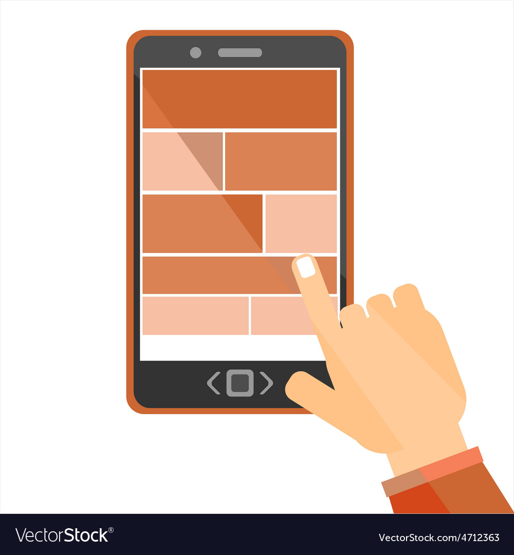 Hand browsing internet using tablet vector | Price: 1 Credit (USD $1)