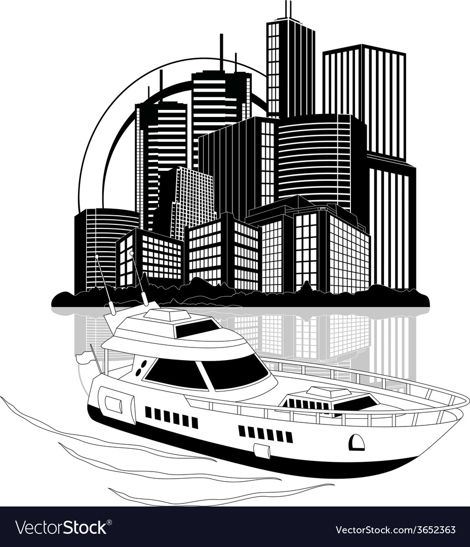 Luxury yacht and skyscrapers vector | Price: 1 Credit (USD $1)