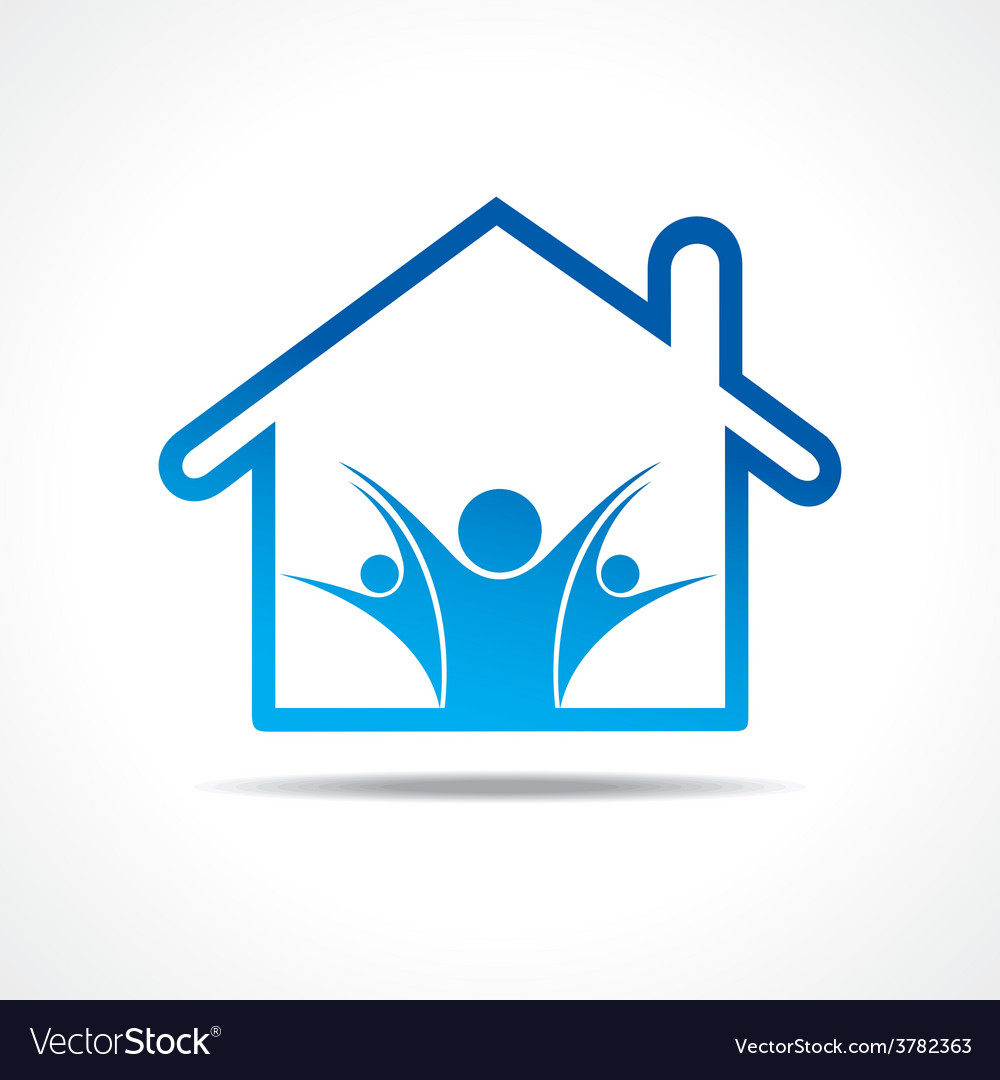 People icon in a home vector | Price: 1 Credit (USD $1)