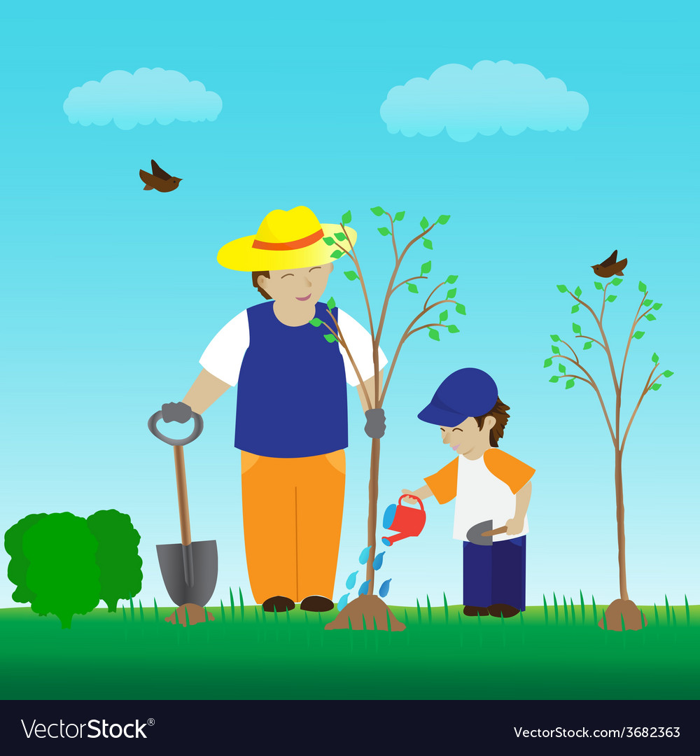 Planting tree with family in the garden vector | Price: 1 Credit (USD $1)