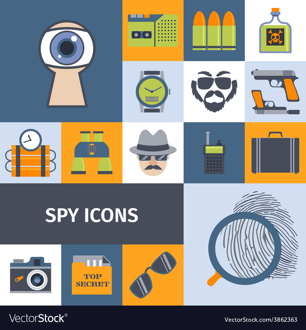 Spy gadgets flat icons composition poster vector | Price: 1 Credit (USD $1)