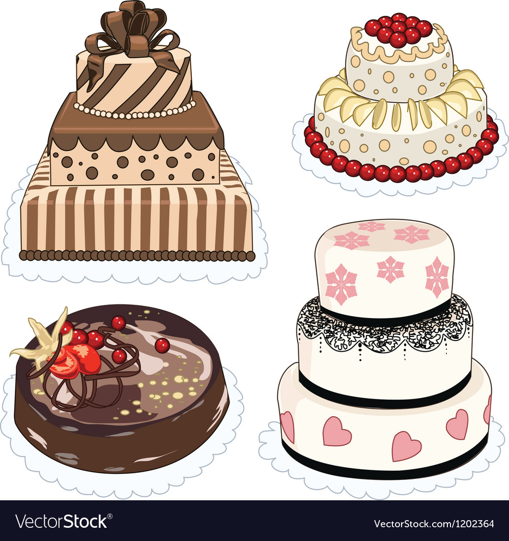 4 cakes vector | Price: 1 Credit (USD $1)