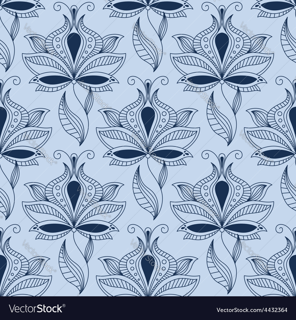 Airy lace indian blue floral seamless pattern vector | Price: 1 Credit (USD $1)