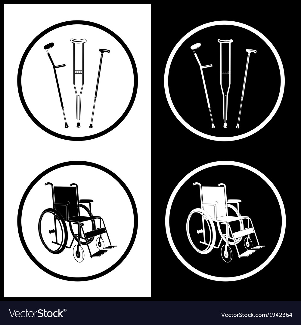 Crutches and invalid chair icons vector | Price: 1 Credit (USD $1)