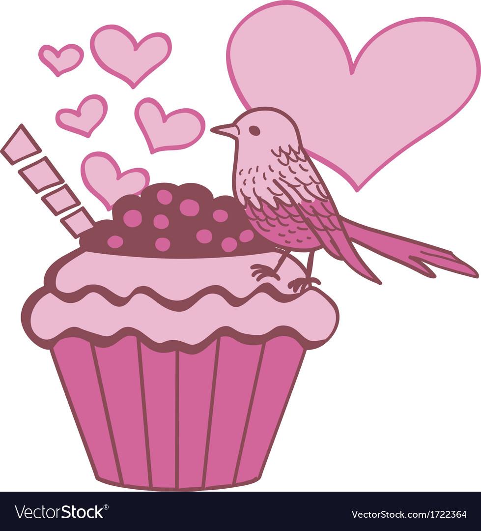 Cupcake bird in love vector | Price: 1 Credit (USD $1)