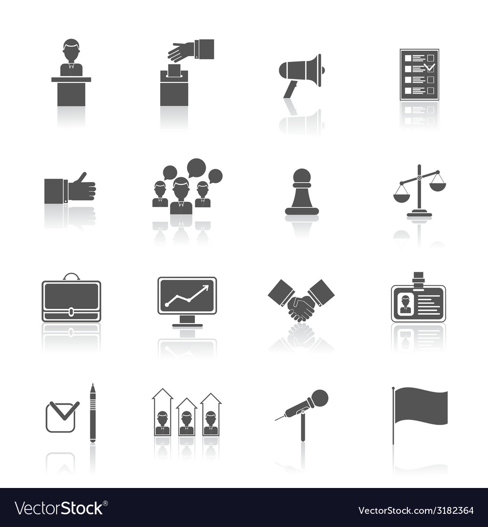 Elections icons set black vector | Price: 1 Credit (USD $1)