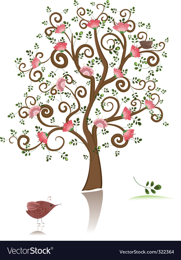Flowering ornamental tree vector | Price: 1 Credit (USD $1)