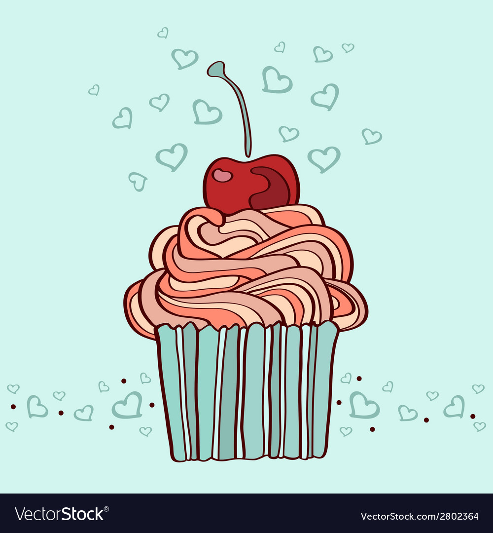 Hand drawn of cupcake with cherry vector | Price: 1 Credit (USD $1)