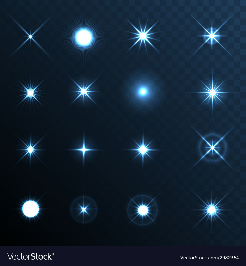 Light glow flare stars effect set vector | Price: 1 Credit (USD $1)