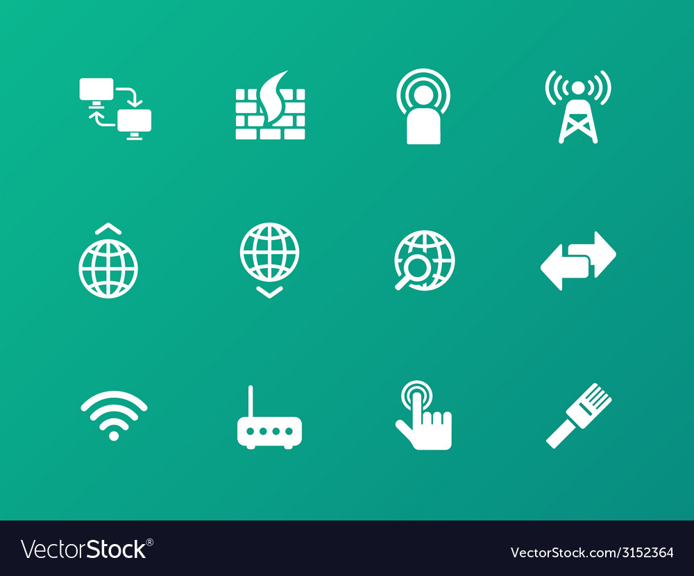 Networking icons on green background vector | Price: 1 Credit (USD $1)