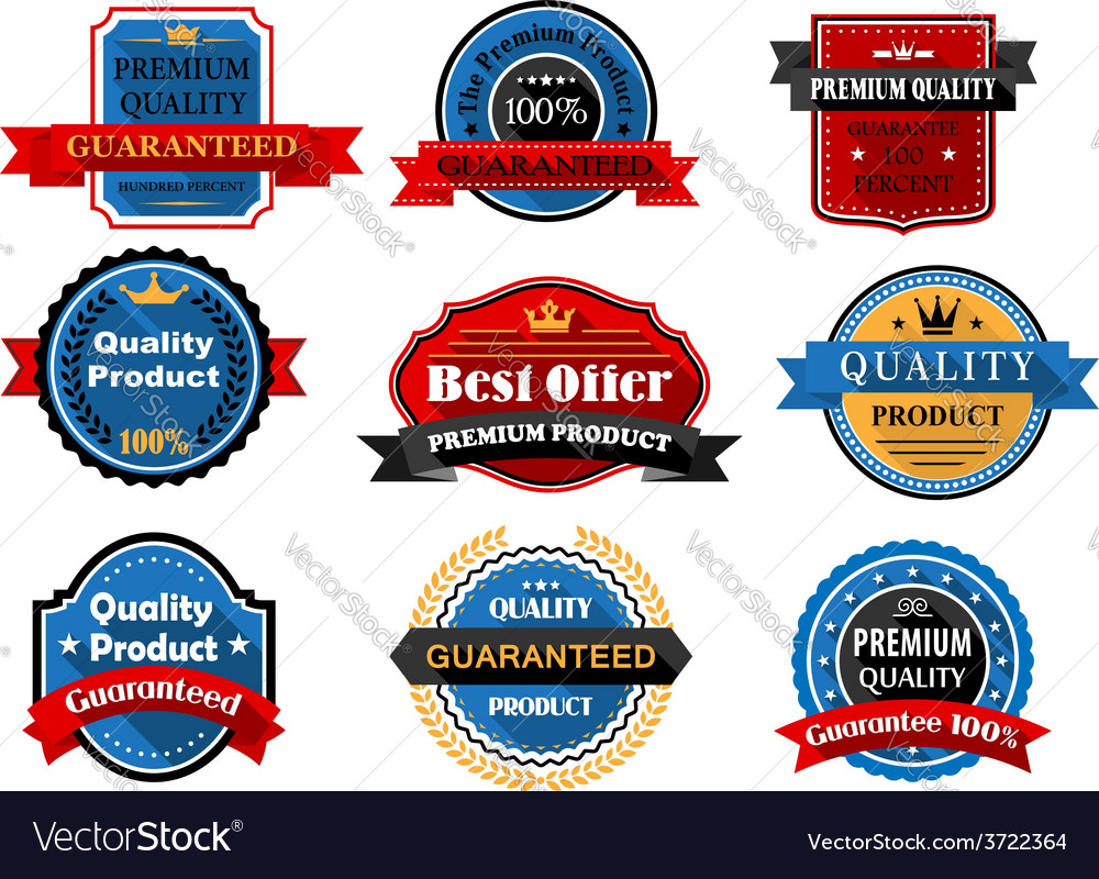 Quality and guarantee flat labels with heraldic vector