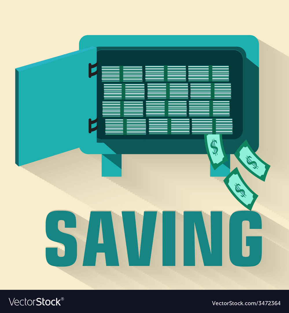 Retro flat saving icon concept design vector | Price: 1 Credit (USD $1)