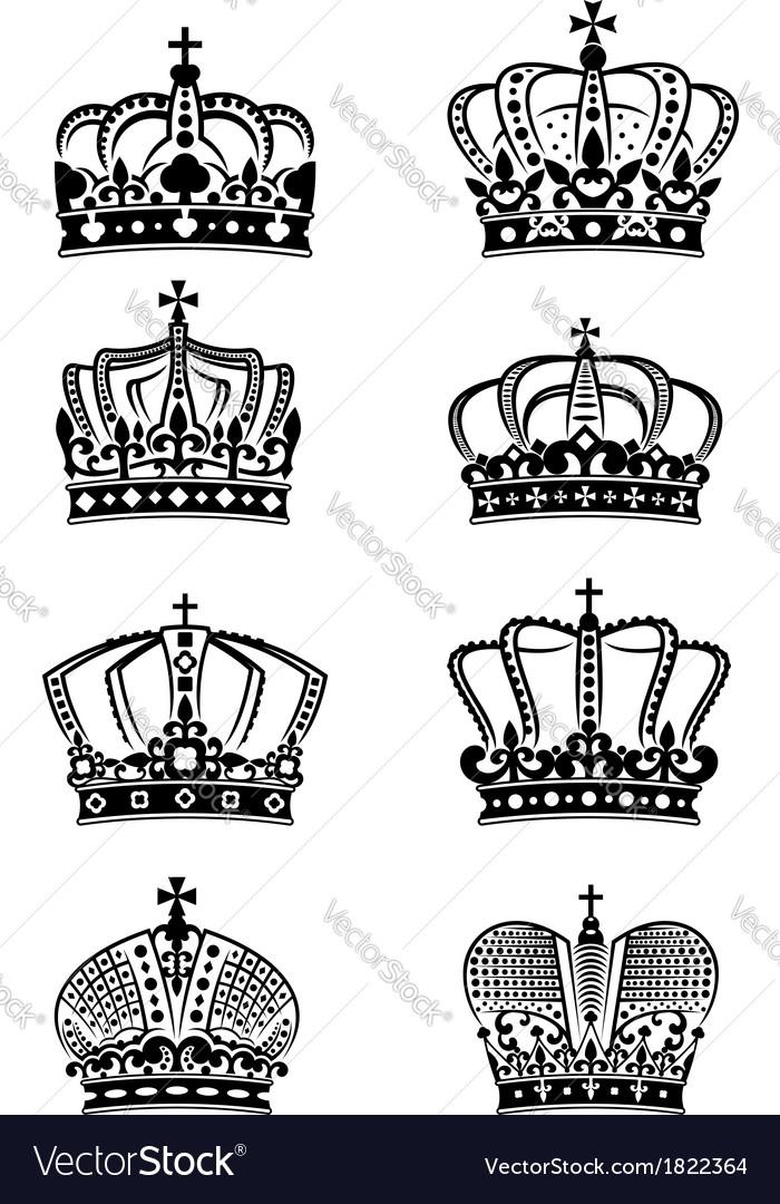 Set of vintage heraldic royal crowns vector | Price: 1 Credit (USD $1)