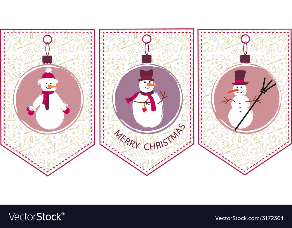 Three decoration christmas balls with snowmen vector | Price: 1 Credit (USD $1)