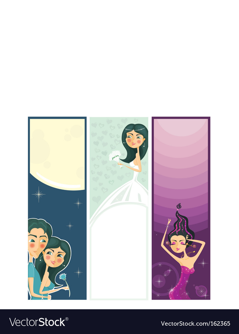 3 banners of cute girls vector | Price: 1 Credit (USD $1)
