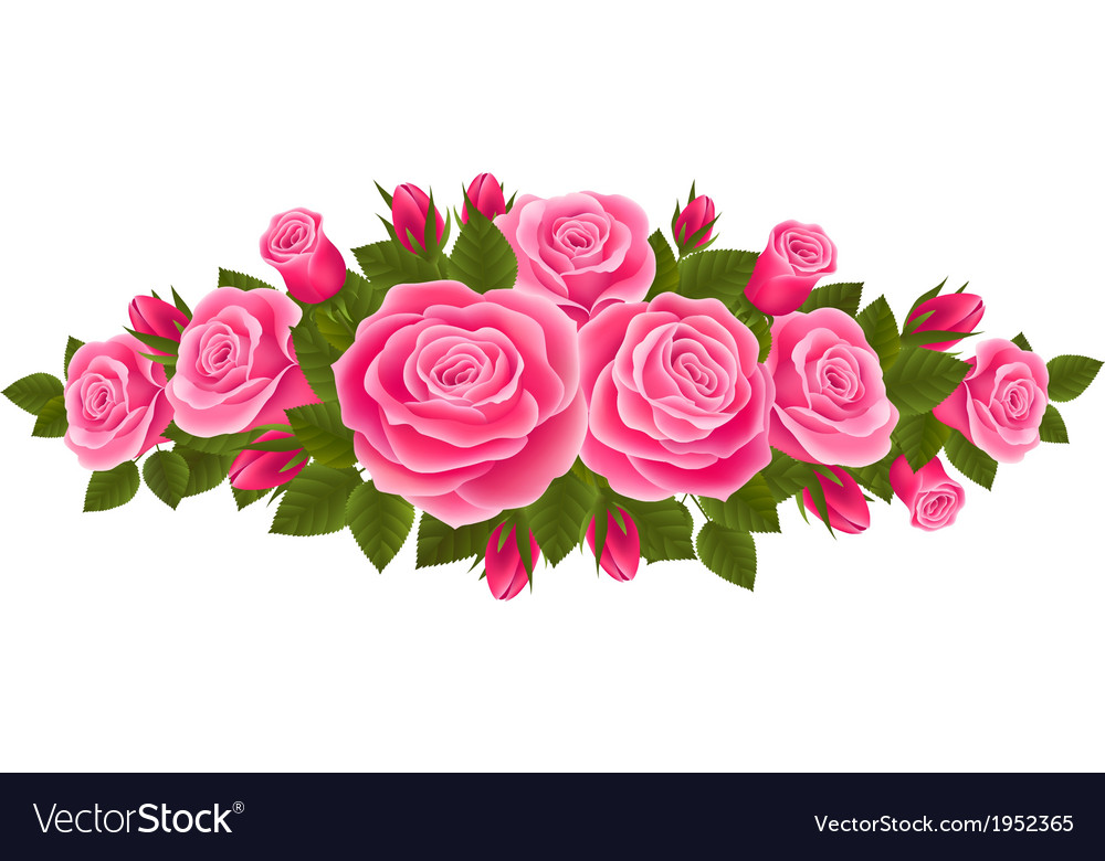 Beautiful border of roses vector | Price: 1 Credit (USD $1)