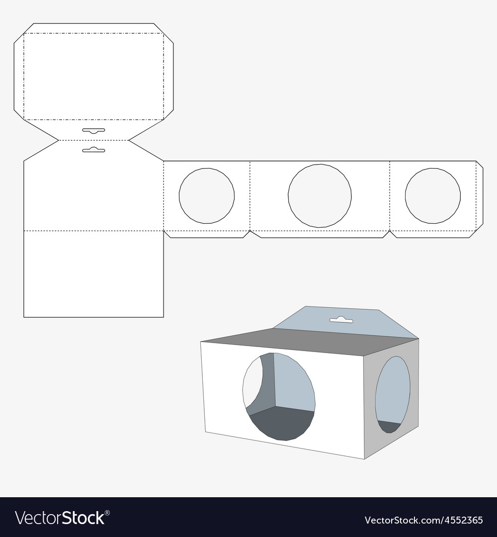 Box with circl windows packing box for food gift vector | Price: 1 Credit (USD $1)