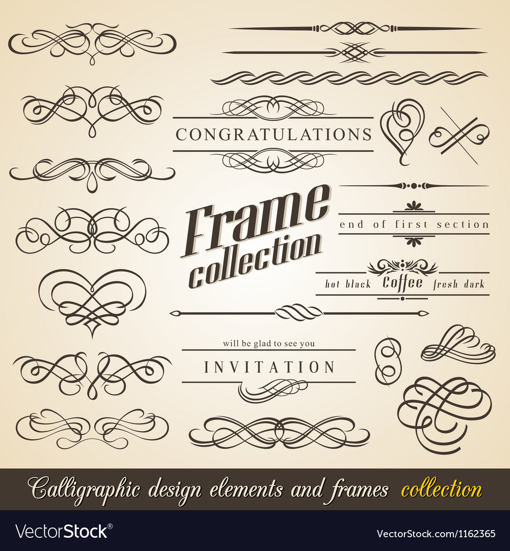 Calligraphic design elements and frames vector