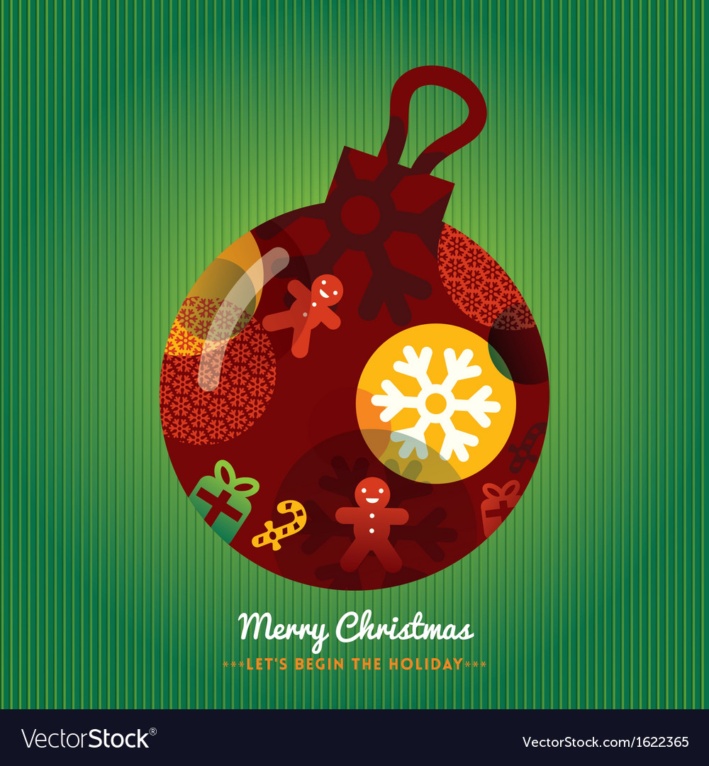 Christmas ornament with lettering green background vector | Price: 1 Credit (USD $1)