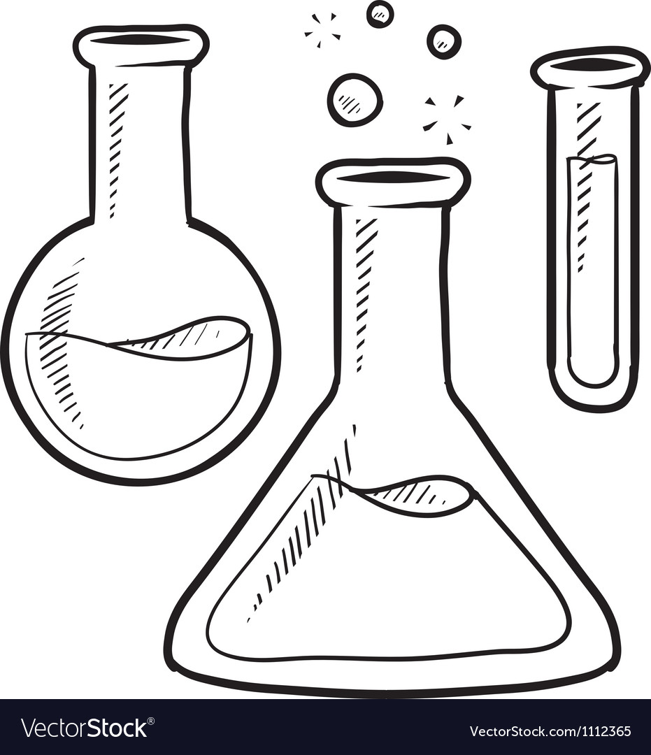 Doodle science lab beakers vector | Price: 1 Credit (USD $1)