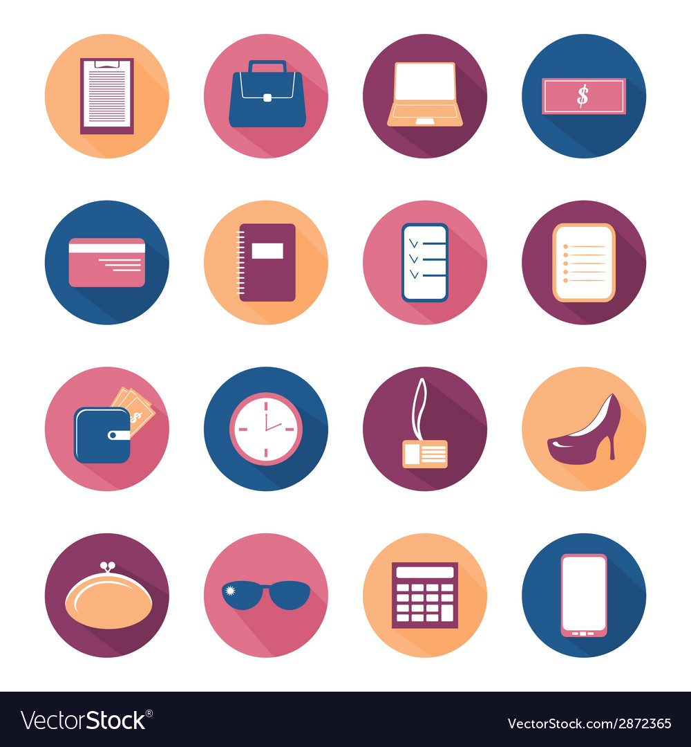 Flat round icon set with long shadow vector | Price: 1 Credit (USD $1)