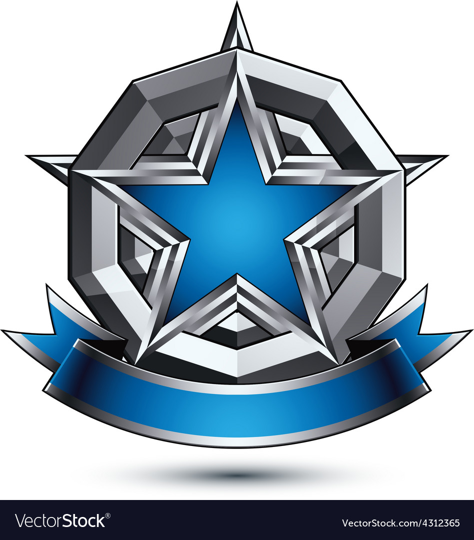 Glorious glossy design element luxury blue 3d star vector | Price: 1 Credit (USD $1)
