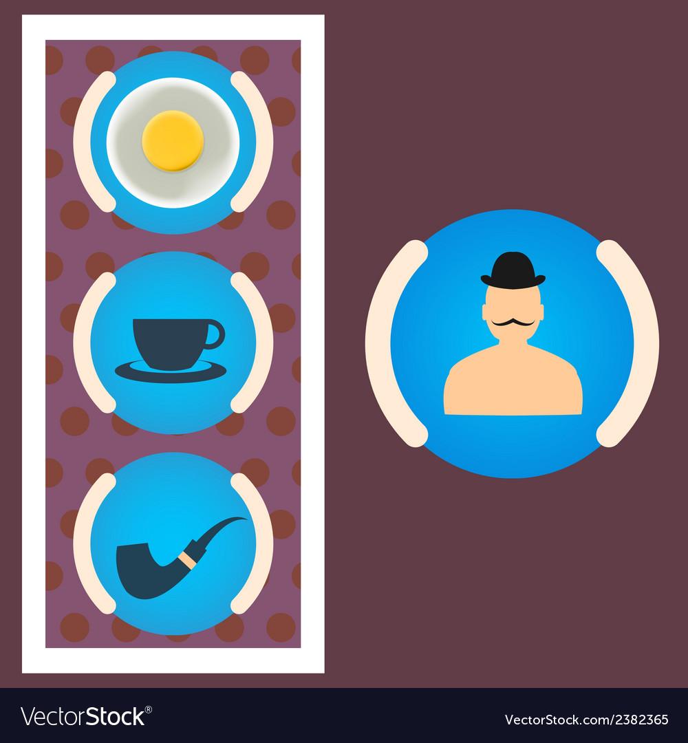 Morning set gentleman scrambled eggs tea tube vector | Price: 1 Credit (USD $1)