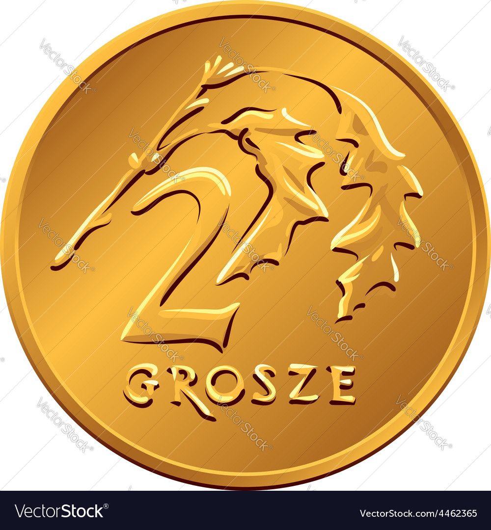 Reverse polish money two groszy copper coin vector | Price: 1 Credit (USD $1)