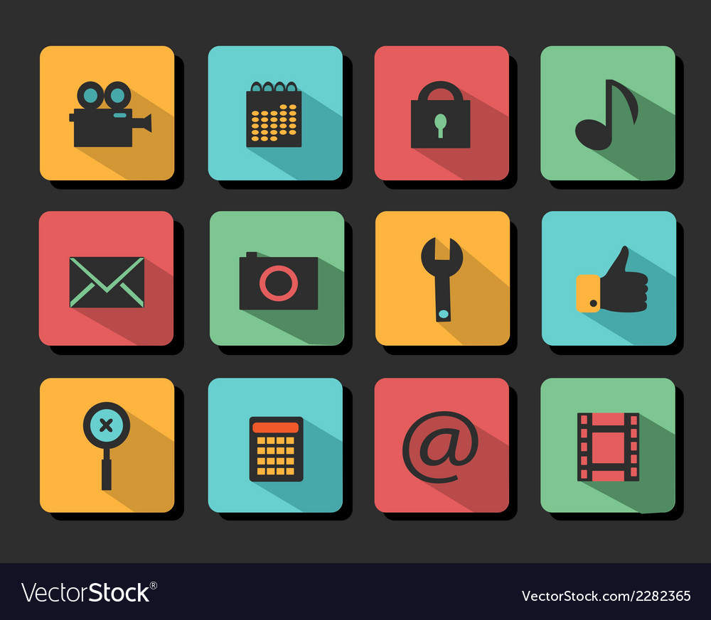Set icons flat design vector | Price: 1 Credit (USD $1)