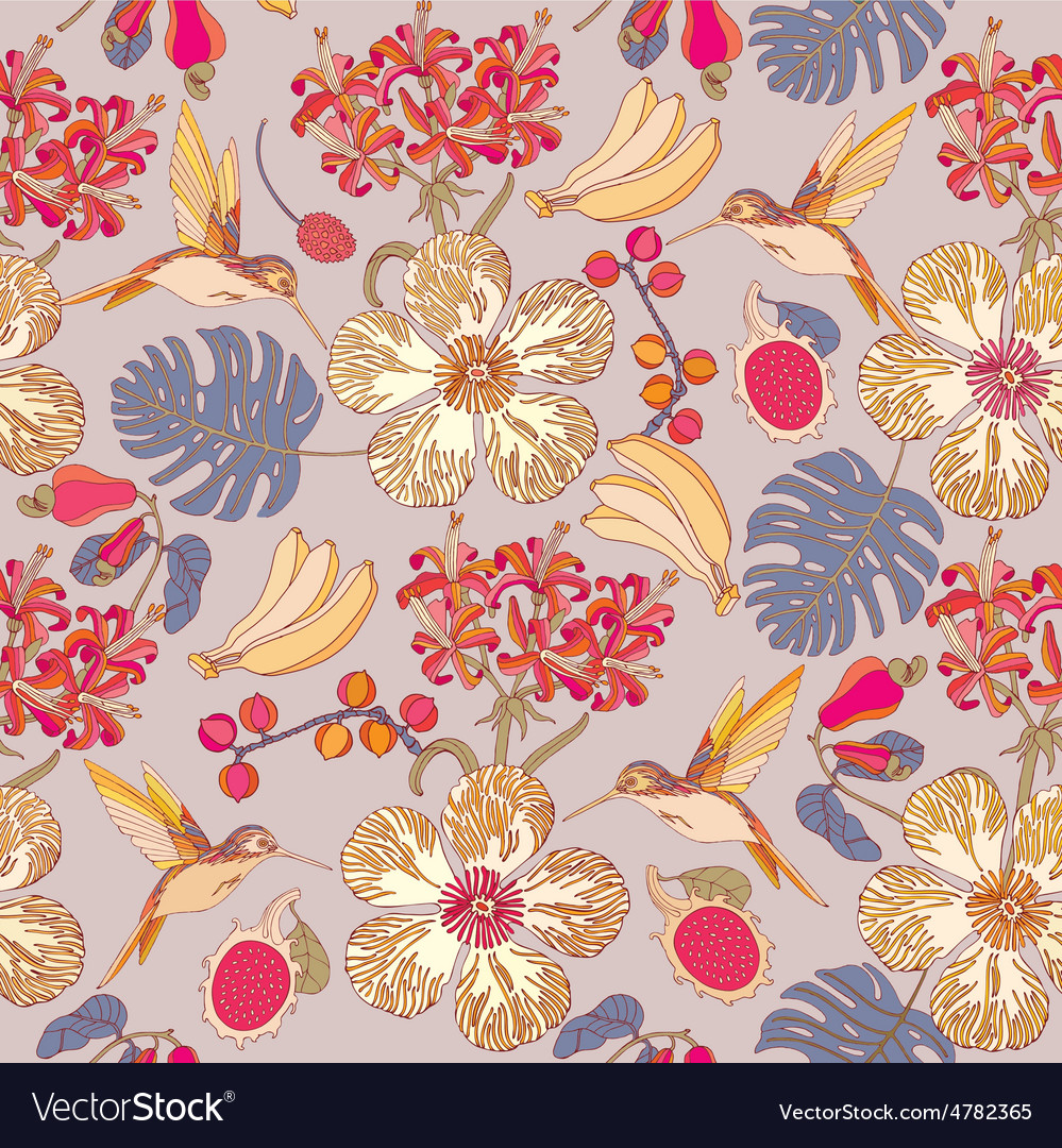Tropical flowers with bananas vector | Price: 1 Credit (USD $1)