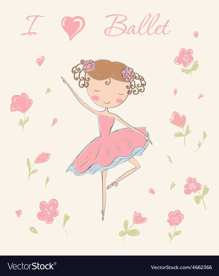 Ballerina with flowers vector | Price: 1 Credit (USD $1)