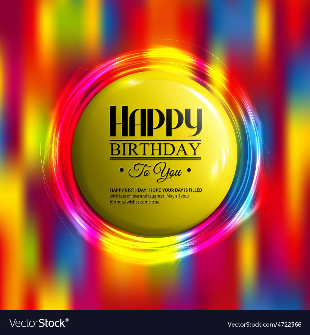 Birthday card with neon lights and badge for your vector | Price: 3 Credit (USD $3)