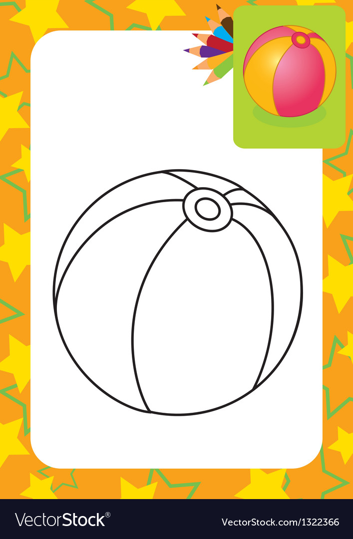 Coloring page toy ball vector | Price: 1 Credit (USD $1)
