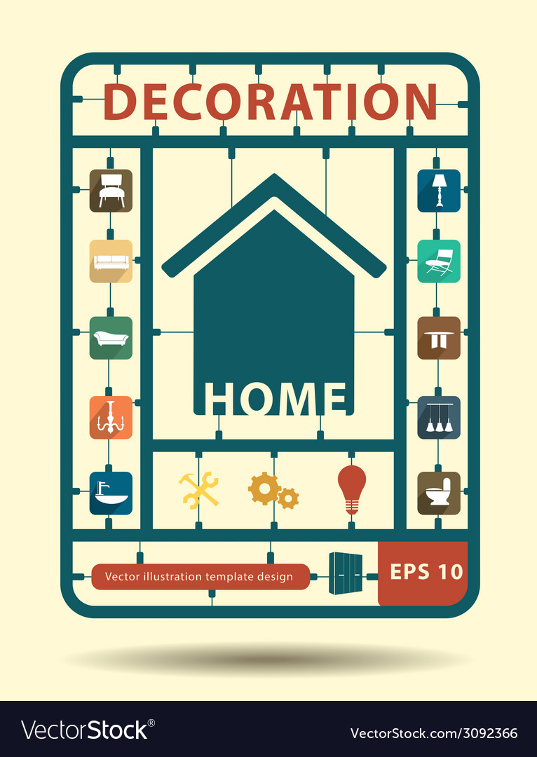 Furniture flat icons home decoration idea concept vector | Price: 1 Credit (USD $1)