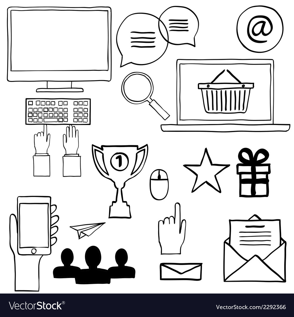 Hand draw doodle icons concept internet work vector | Price: 1 Credit (USD $1)
