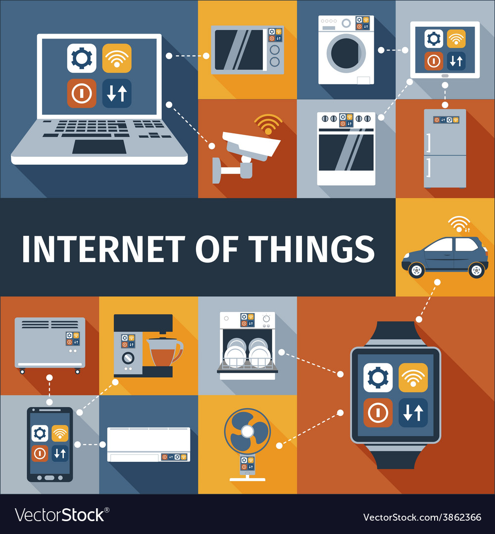 Internet of things flat icons composition vector | Price: 1 Credit (USD $1)