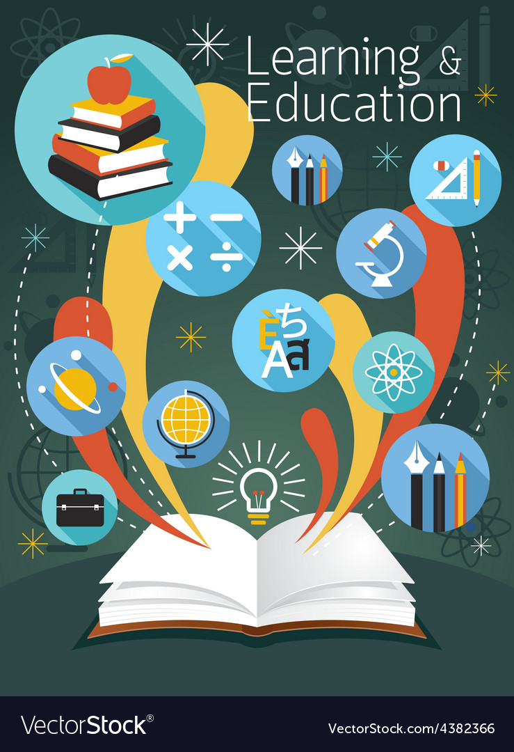 Open book with education icons vector | Price: 1 Credit (USD $1)